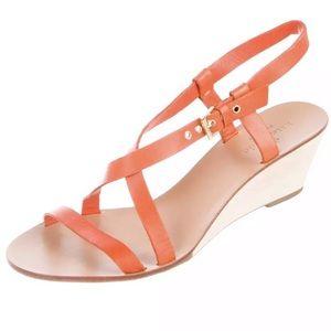 EUC KATE SPADE Wedge Sandals Orange 7 1/2 37.5